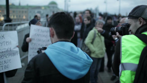 Photographers taking pictures of participants of the protest manifestation Footage