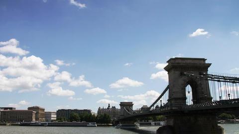 4 K Chain Bridge Budapest Hungary Timelapse Daytim Stock Video Footage