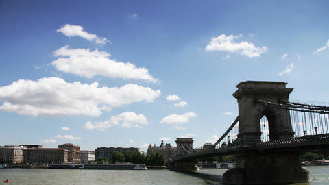 Chain Bridge Budapest Hungary Timelapse Daytime 4 Stock Video Footage