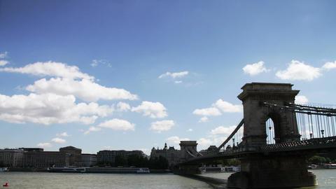 Chain Bridge Budapest Hungary Timelapse Daytime 4 Footage