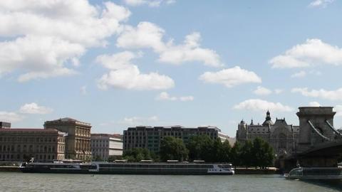 Chain Bridge Budapest Hungary Timelapse Daytime 6 Stock Video Footage