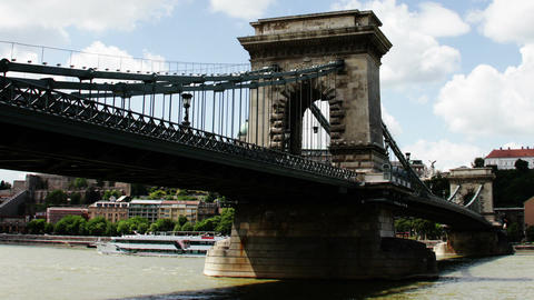 Chain Bridge Budapest Hungary Timelapse Daytime 8 Stock Video Footage