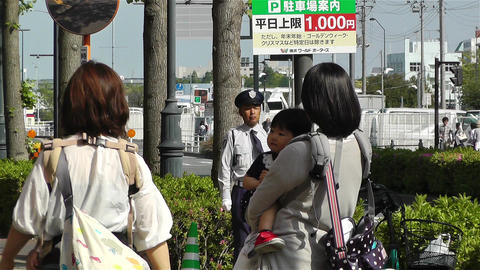 Japanese Babies and Mothers Walking Stock Video Footage