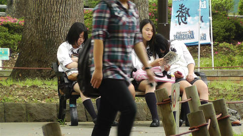 Japanese Schoolgirls Relaxing in Park in Yokohama Japan 11 Footage