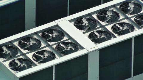 Rooftop Ventilators 1 Stock Video Footage