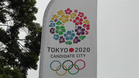 Tokyo 2020 Olympic Games Canditate Flags 4 Stock Video Footage