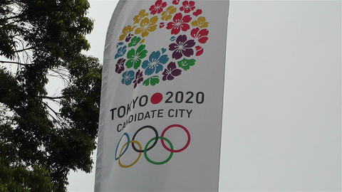 Tokyo 2020 Olympic Games Canditate Flags 4 Footage