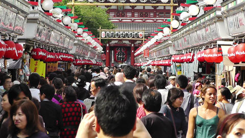 Tokyo Asakusa Japan 15 crowd Stock Video Footage