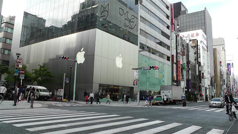 Tokyo Ginza Japan 9 apple store Stock Video Footage