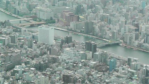 Tokyo Skytree Oshiage Aerial View to Tokyo 9 Footage