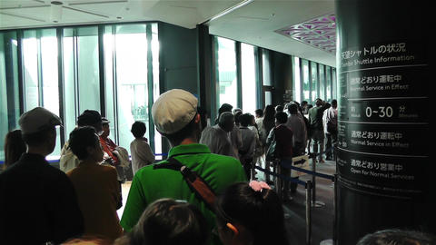 Tokyo Skytree Oshiage Waiting Line 3 Stock Video Footage