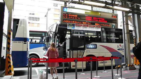 Tokyo Station Japan 1 bus stop Footage