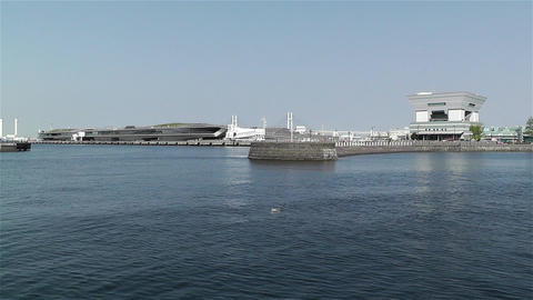 View to Osanbashi Pier Yokohama Japan 1 Stock Video Footage