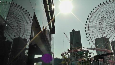 Yokohama Cosmoworld Ferry Wheel Japan pan Footage