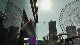 Yokohama Cosmoworld Ferry Wheel Japan pan Live Action