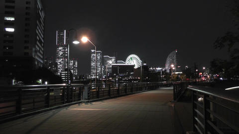 Yokohama Japan at Night 3 Stock Video Footage