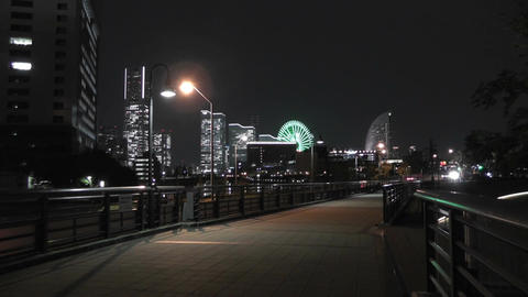 Yokohama Japan at Night 3 Footage