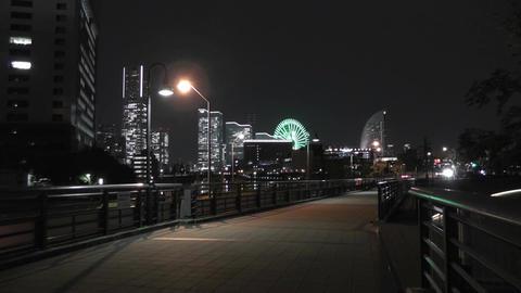 Yokohama Japan at Night 3 Footage