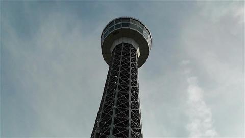Yokohama Marine Tower Japan Clouds Timelapse Stock Video Footage