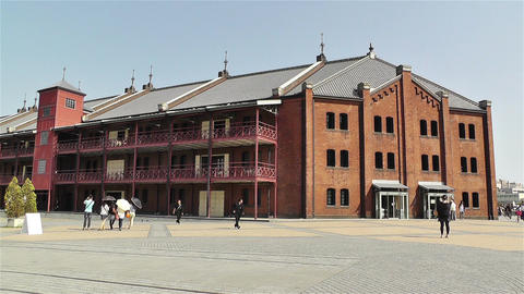Yokohama Red Brick Warehouse Japan 2 stock footage