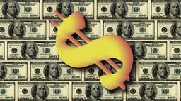 DOLLAR bill + sign Stock Video Footage