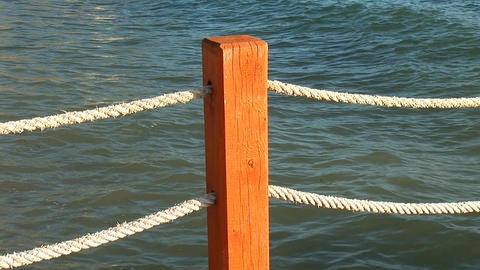 rope fence near the water Stock Video Footage