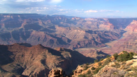 Pan from the Grand canyon on a beautiful summer day Footage