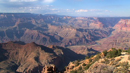 Pan from the Grand canyon on a beautiful summer day Stock Video Footage