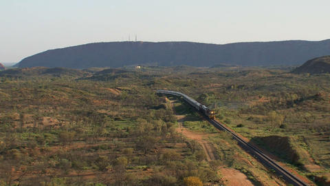 Train leaving Alice Springs station Stock Video Footage