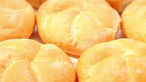 Tasty fresh baked white rolls Stock Video Footage