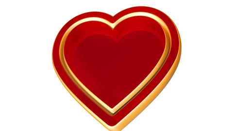 3d red golden love heart, valentines day, wedding... Stock Video Footage
