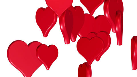 Flying hearts, wedding background, valentines day, red love hearts, alpha matte Animation
