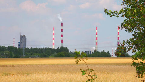 Factory chimney and nature, heavy industrial Stock Video Footage