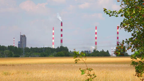 Factory chimney and nature, heavy industrial Footage