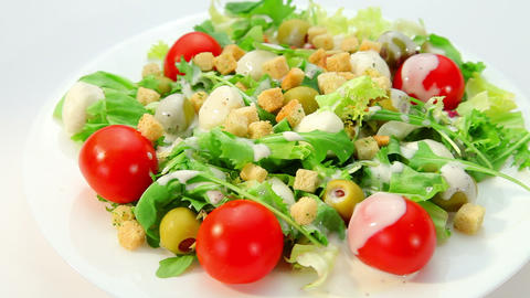 Salad with mozarella cheese and dressing Stock Video Footage