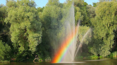 Green trees in park with fountain and rainbow Footage