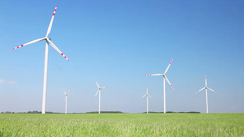 Wind turbines farm Stock Video Footage