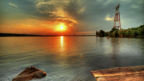 Beautiful Sunset Over The City. HDR Timelapse Stock Video Footage