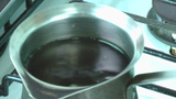 Boiling water ready to put the coffee, tea or chocolate Stock Video Footage