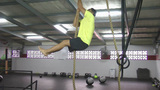 Athlete making leg less rope climb crossfit exercise Footage
