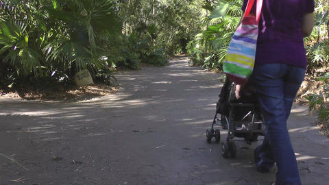 young mother walking with baby in stroller Stock Video Footage