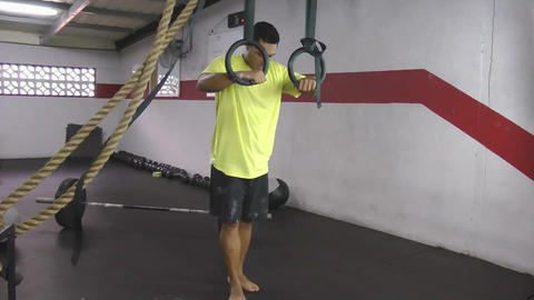 Muscle up to hold crossfit exercise Stock Video Footage