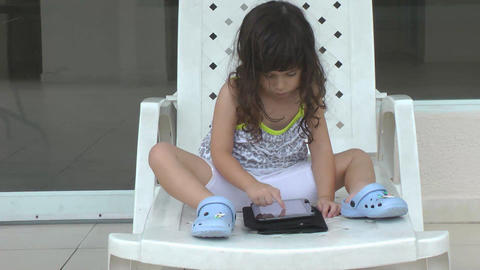 Little having problems using the wireless tablet Stock Video Footage