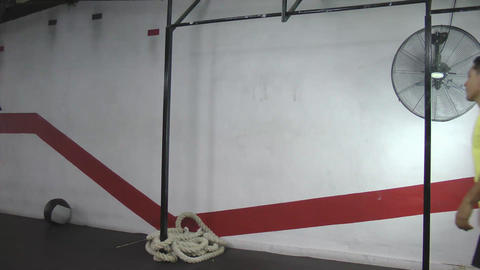 Toes to bar crossfit exercise Stock Video Footage