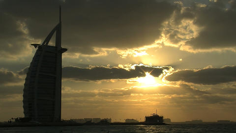 Burj al Arab hotel sunset Footage