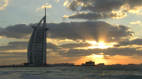 Burj al Arab hotel sunset Stock Video Footage