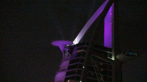 Burj al Arab hotel roof top Stock Video Footage