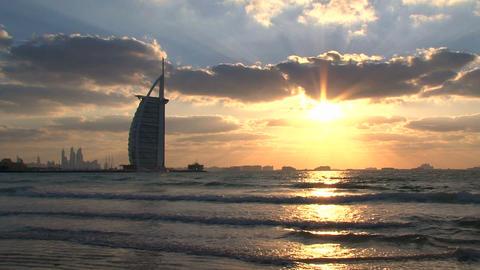 Burj al Arab hotel sunset Stock Video Footage