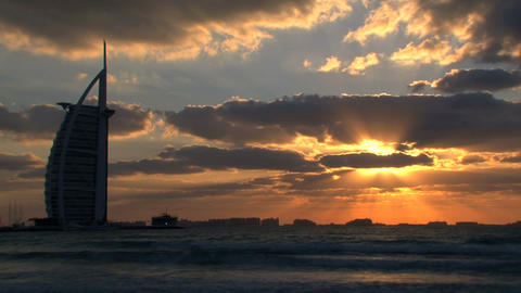 Burj al Arab sunset Stock Video Footage