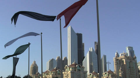 Flags downtown Dubai Stock Video Footage